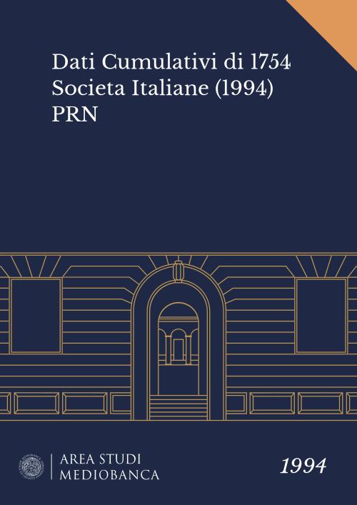Immagine copertina - Dati Cumulativi di 1754 Societa Italiane (1994) PRN