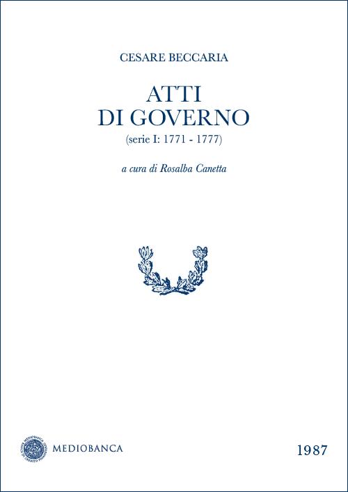 Immagine copertina - Atti di governo (Serie I: 1771 - 1777)