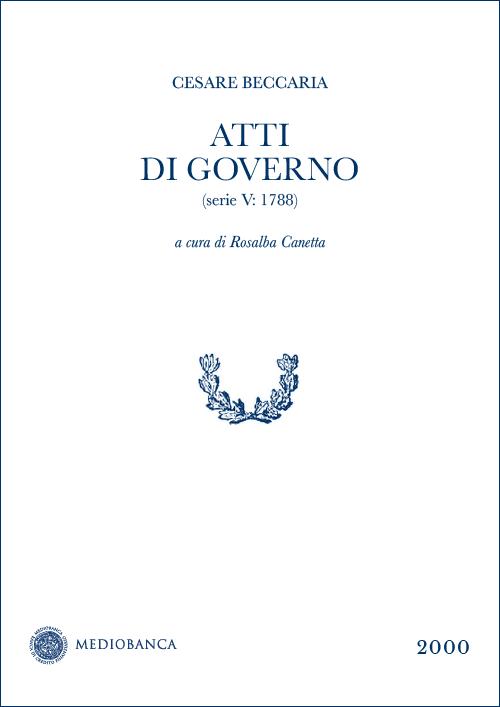 Immagine copertina - Atti di governo (Serie V: 1788)