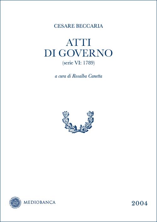 Immagine copertina - Atti di governo (Serie VI: 1789)