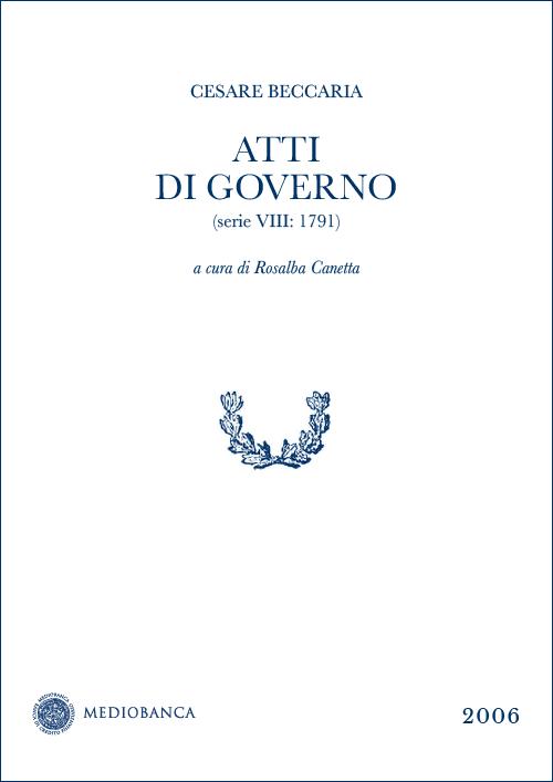 Immagine copertina - Atti di governo (Serie VIII: 1791)