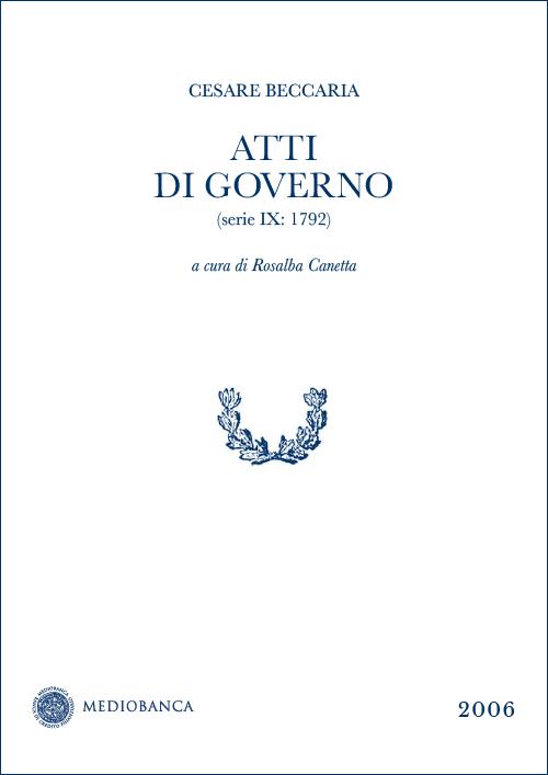 Immagine copertina - Atti di governo (Serie IX: 1792)