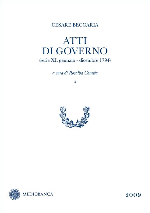 Immagine copertina - Atti di governo (Serie XI: Gennaio - Dicembre 1794)